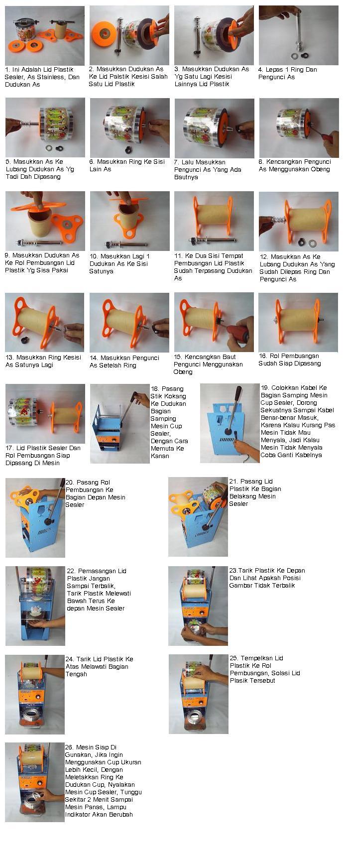 cara pasang mesin cup sealer